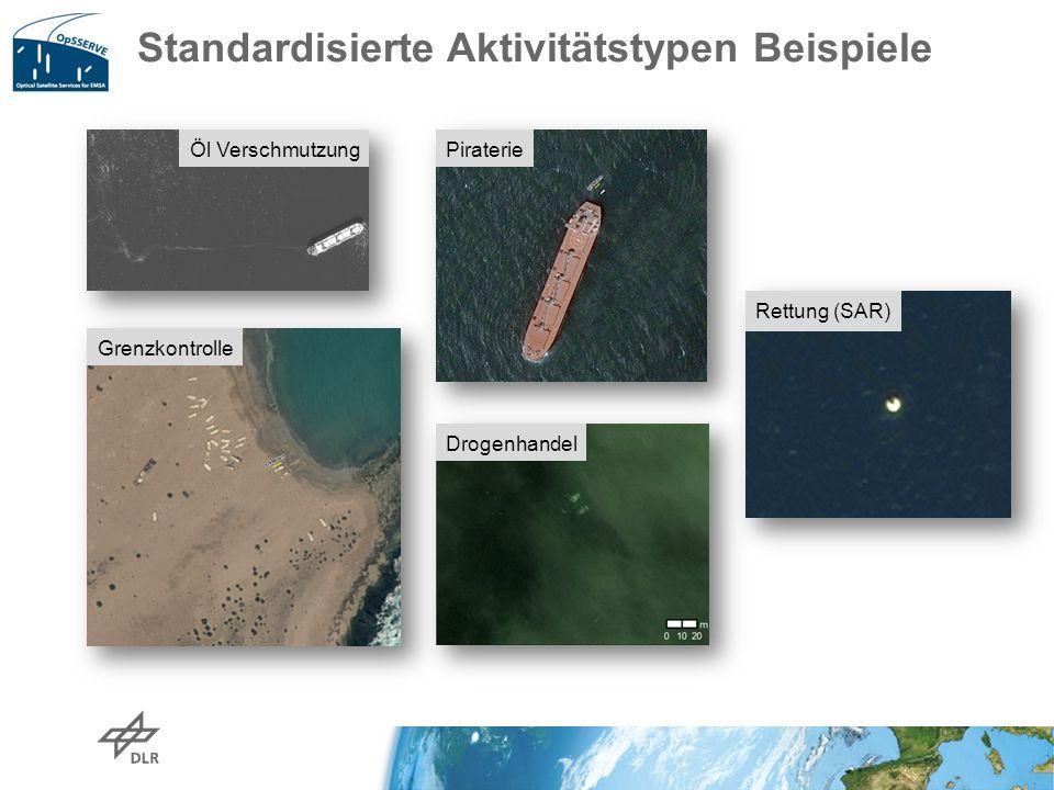 Standardisierte Aktivitätstypen Beispiele Öl Verschmutzung Piraterie Grenzkontrolle Drogenhandel Rettung (SAR)