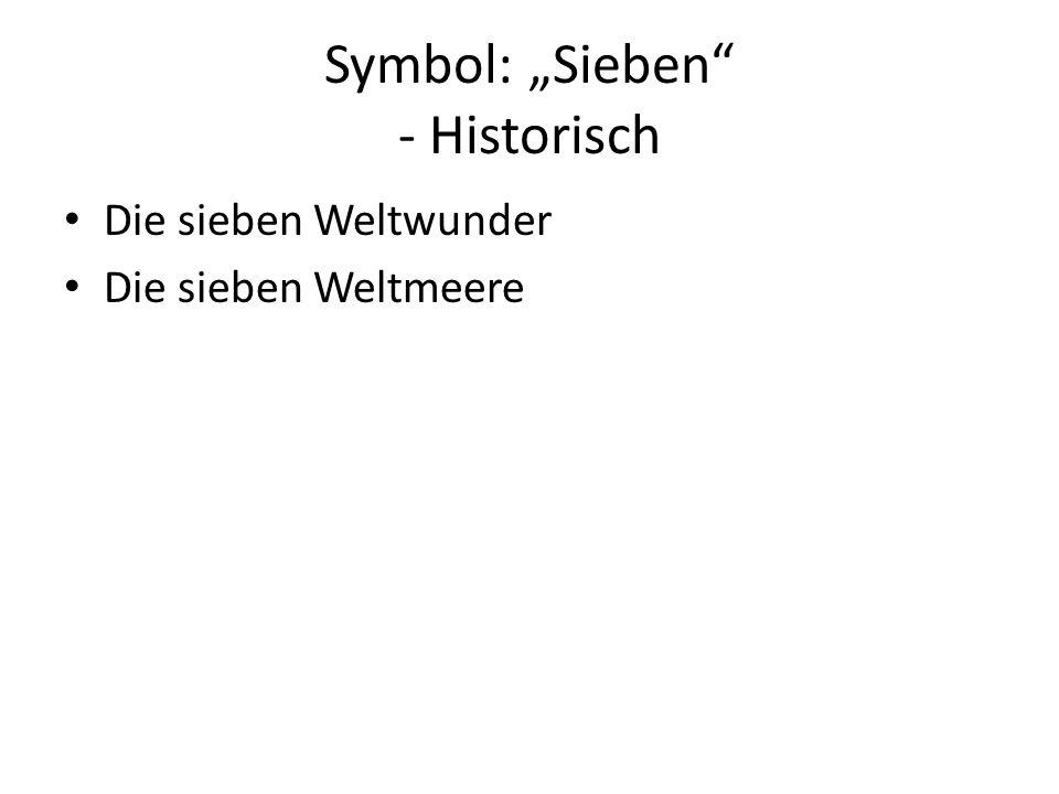 """Symbol: """"Sieben"""" - Historisch Die sieben Weltwunder Die sieben Weltmeere"""