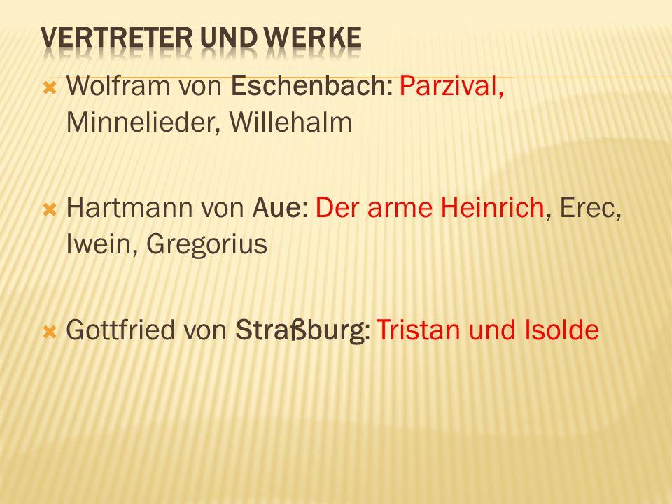  Wolfram von Eschenbach: Parzival, Minnelieder, Willehalm  Hartmann von Aue: Der arme Heinrich, Erec, Iwein, Gregorius  Gottfried von Straßburg: Tr