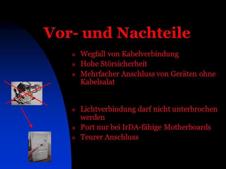 Vor- und Nachteile Wegfall von Kabelverbindung Hohe Störsicherheit Mehrfacher Anschluss von Geräten ohne Kabelsalat Lichtverbindung darf nicht unterbr