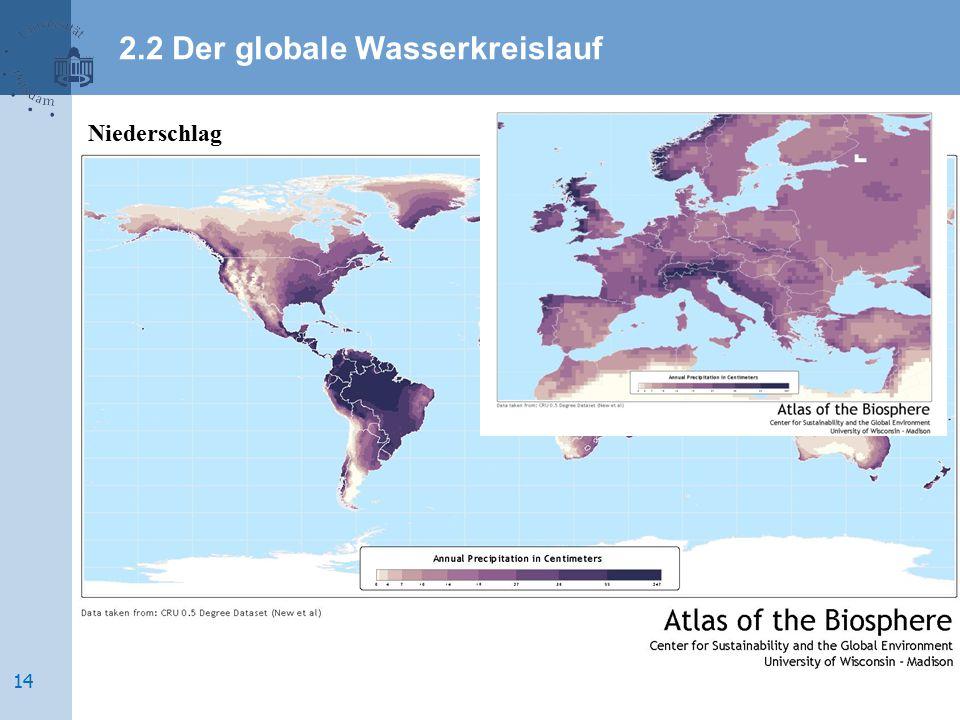 Niederschlag 2.2 Der globale Wasserkreislauf 14