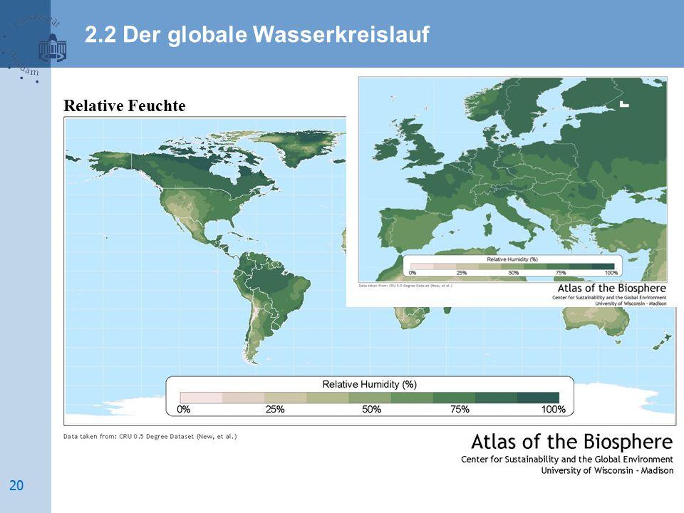 Relative Feuchte 2.2 Der globale Wasserkreislauf 20
