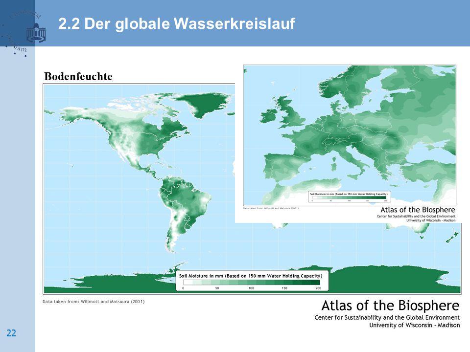 Bodenfeuchte 2.2 Der globale Wasserkreislauf 22