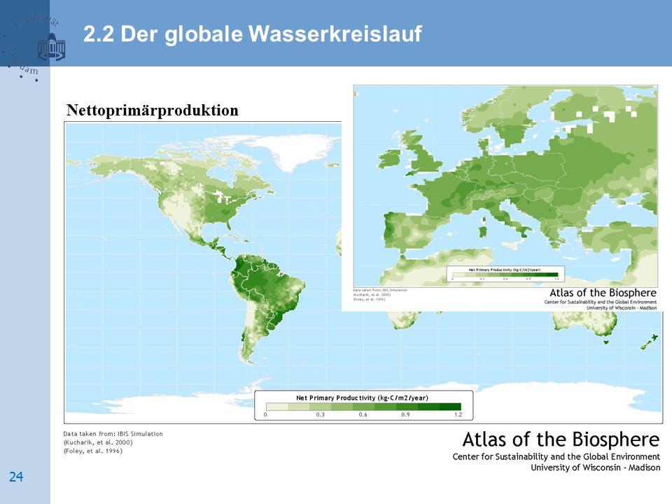 Nettoprimärproduktion 2.2 Der globale Wasserkreislauf 24