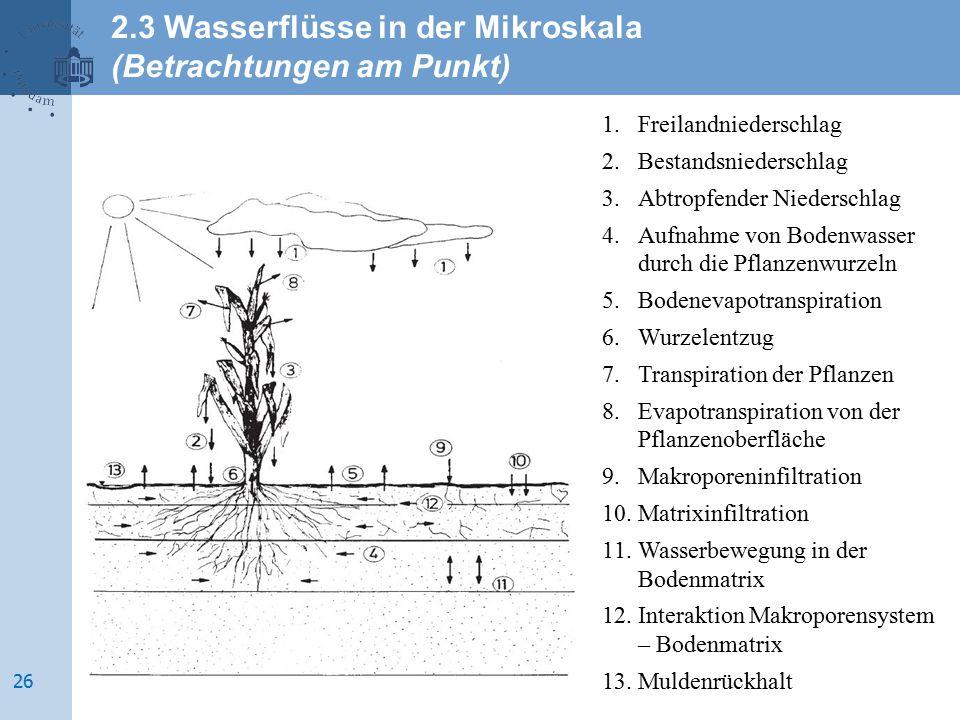 1.Freilandniederschlag 2.Bestandsniederschlag 3.Abtropfender Niederschlag 4.Aufnahme von Bodenwasser durch die Pflanzenwurzeln 5.Bodenevapotranspirati