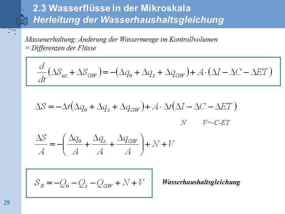 Massenerhaltung: Änderung der Wassermenge im Kontrollvolumen = Differenzen der Flüsse Wasserhaushaltsgleichung NV=-C-ET 2.3 Wasserflüsse in der Mikros
