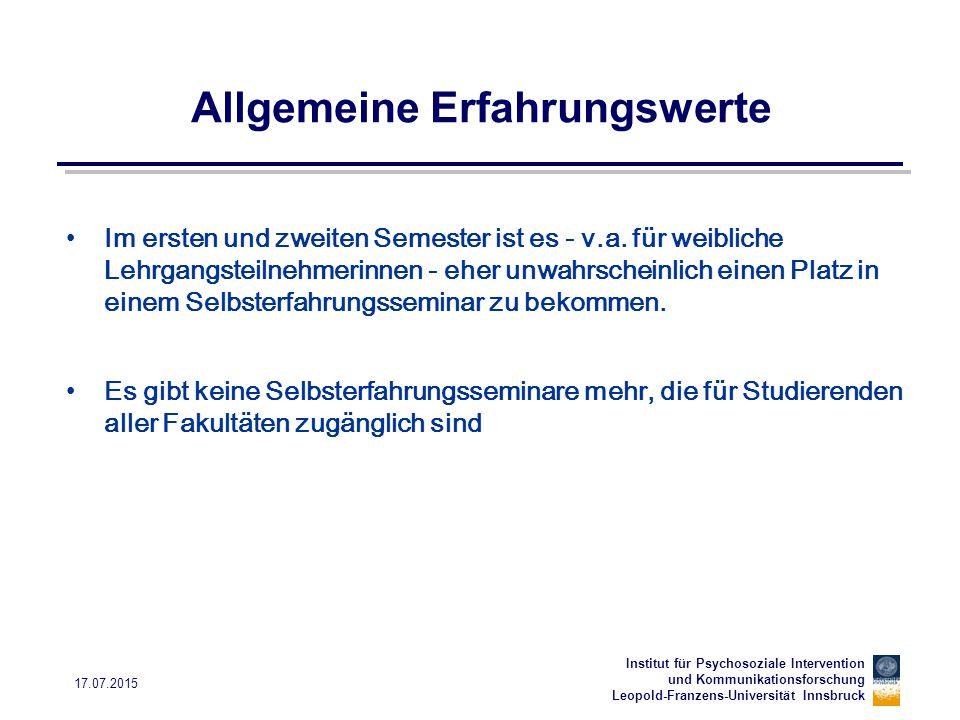Institut für Psychosoziale Intervention und Kommunikationsforschung Leopold-Franzens-Universität Innsbruck 17.07.2015 Die Lehrveranstaltungen im SS 2012 Siehe rosaroter Informationsfalter Seiten 4 und 5