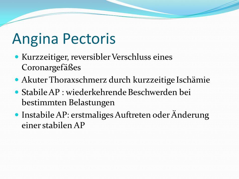 Angina Pectoris Kurzzeitiger, reversibler Verschluss eines Coronargefäßes Akuter Thoraxschmerz durch kurzzeitige Ischämie Stabile AP : wiederkehrende