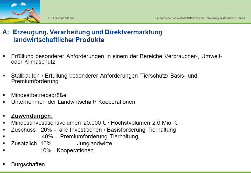 ELER. LebensWert Land.Europäischer Landwirtschaftsfonds für die Entwicklung des ländlichen Raums A: Erzeugung, Verarbeitung und Direktvermarktung land
