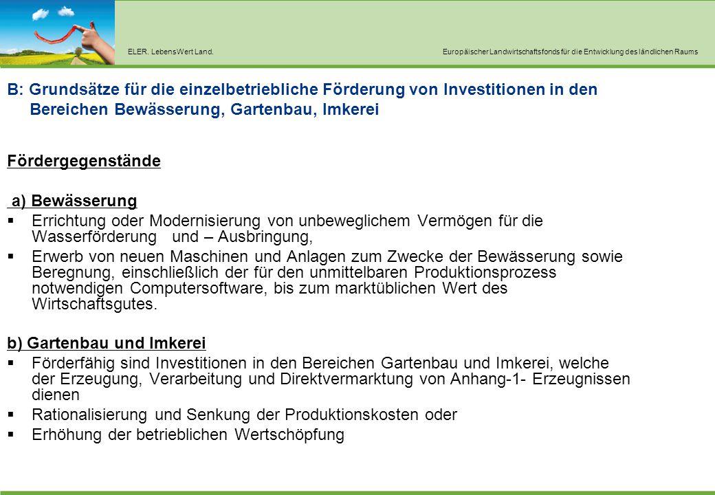 ELER. LebensWert Land.Europäischer Landwirtschaftsfonds für die Entwicklung des ländlichen Raums B: Grundsätze für die einzelbetriebliche Förderung vo