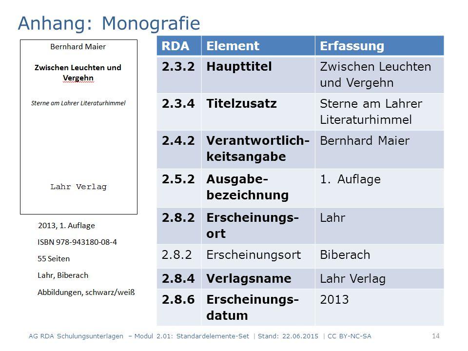 Anhang: Monografie 14 RDAElementErfassung 2.3.2Haupttitel Zwischen Leuchten und Vergehn 2.3.4Titelzusatz Sterne am Lahrer Literaturhimmel 2.4.2 Verant