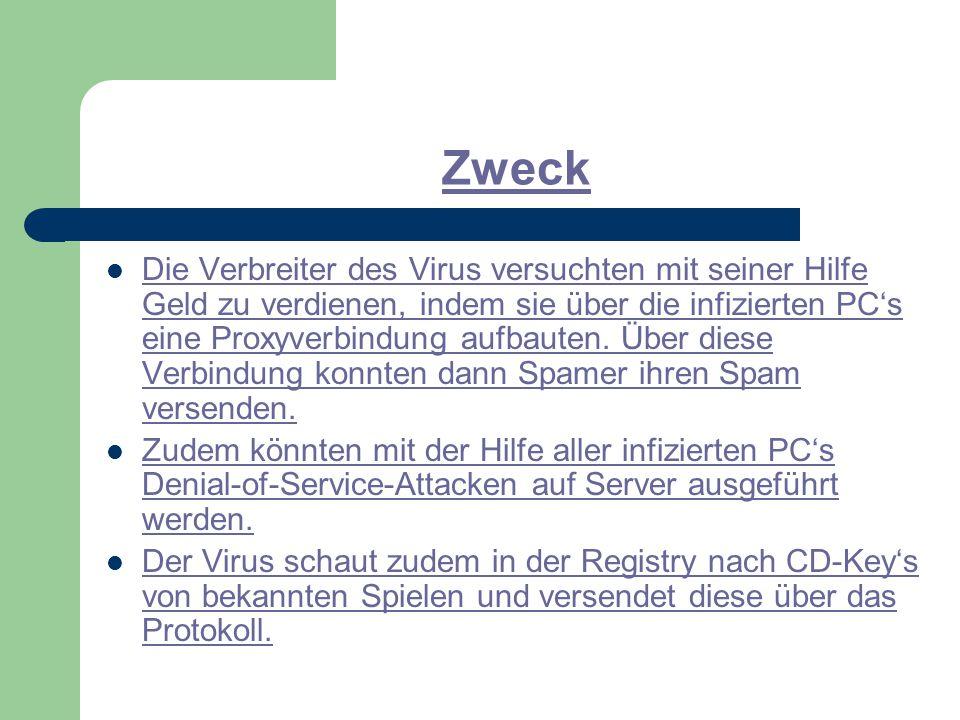 Zweck Die Verbreiter des Virus versuchten mit seiner Hilfe Geld zu verdienen, indem sie über die infizierten PC's eine Proxyverbindung aufbauten.