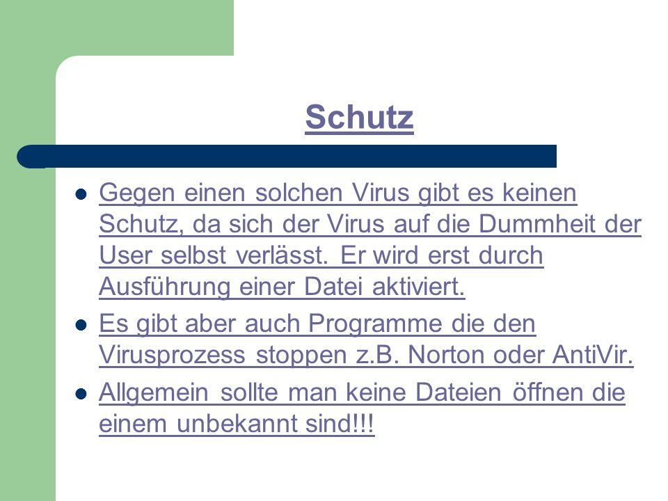Schutz Gegen einen solchen Virus gibt es keinen Schutz, da sich der Virus auf die Dummheit der User selbst verlässt.