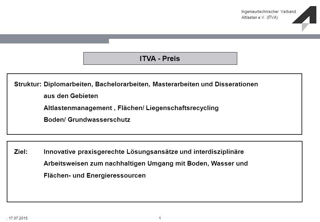 Ingenieurtechnischer Verband Altlasten e.V. (ITVA) 1, 17.07.2015 ITVA - Preis Struktur: Diplomarbeiten, Bachelorarbeiten, Masterarbeiten und Disserati
