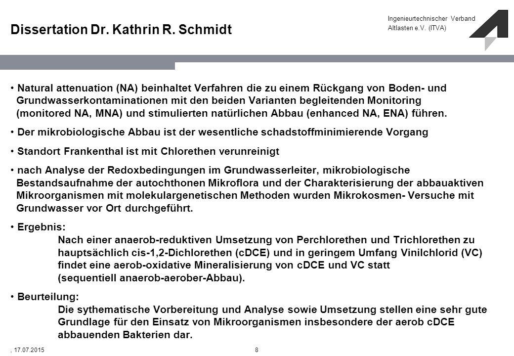 Ingenieurtechnischer Verband Altlasten e.V. (ITVA) 8, 17.07.2015 Dissertation Dr. Kathrin R. Schmidt Natural attenuation (NA) beinhaltet Verfahren die