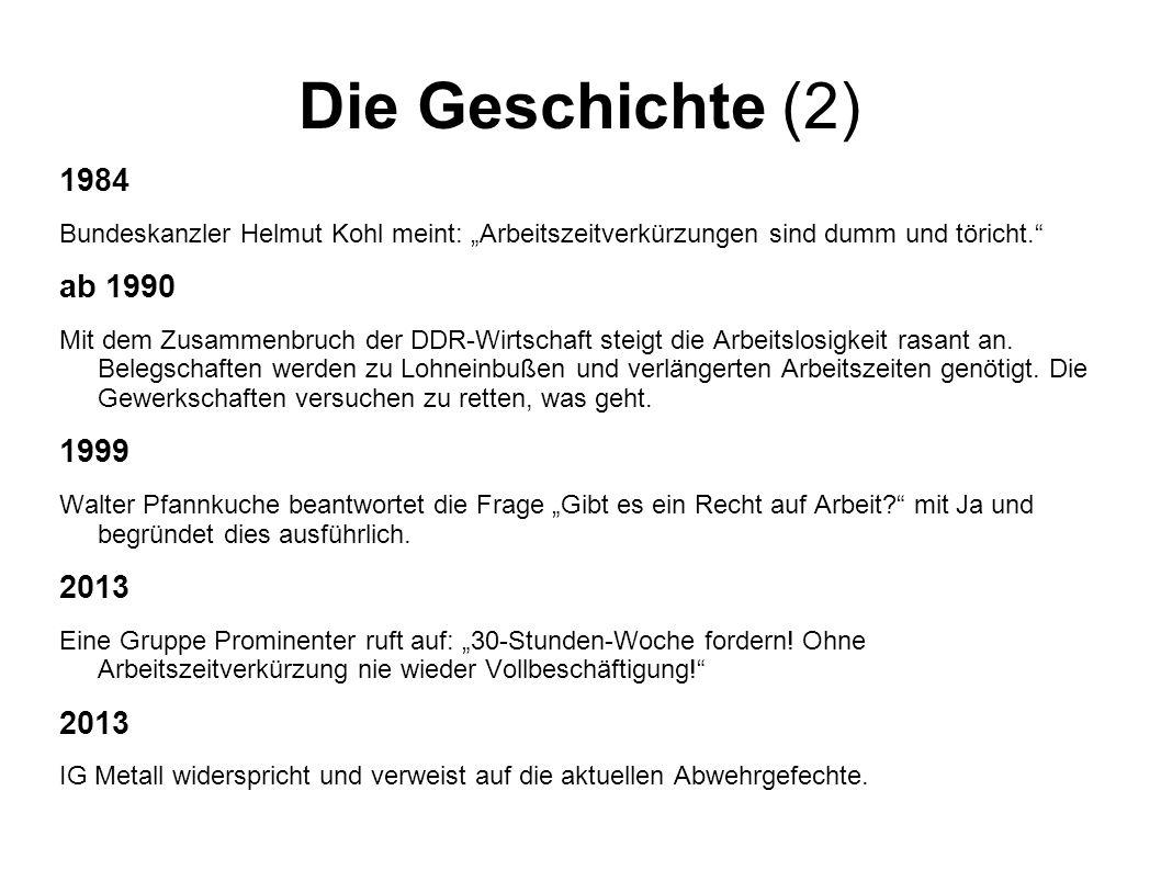 """Die Geschichte (2) 1984 Bundeskanzler Helmut Kohl meint: """"Arbeitszeitverkürzungen sind dumm und töricht. ab 1990 Mit dem Zusammenbruch der DDR-Wirtschaft steigt die Arbeitslosigkeit rasant an."""