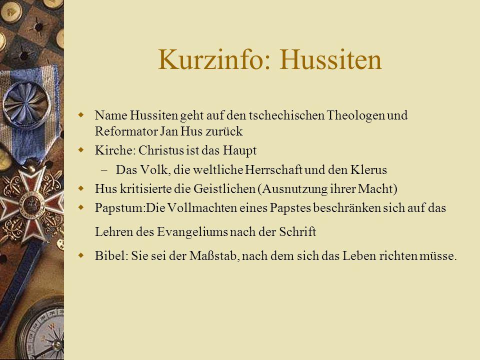 Konzil von Konstanz  1413 schrieb Hus De Ecclesia (Über die Kirche) – Kirche sei eine nicht hierarchisierte Gemeinschaft, in der nur Christus das Oberhaupt sein könne  Wurde vors Konzil einberufen  Ziel: die kirchlichen Zustände zu verbessern und die Ketzerei niederzuschlagen  Trotz Geleitbrief festgenommen  Wurde am 6.