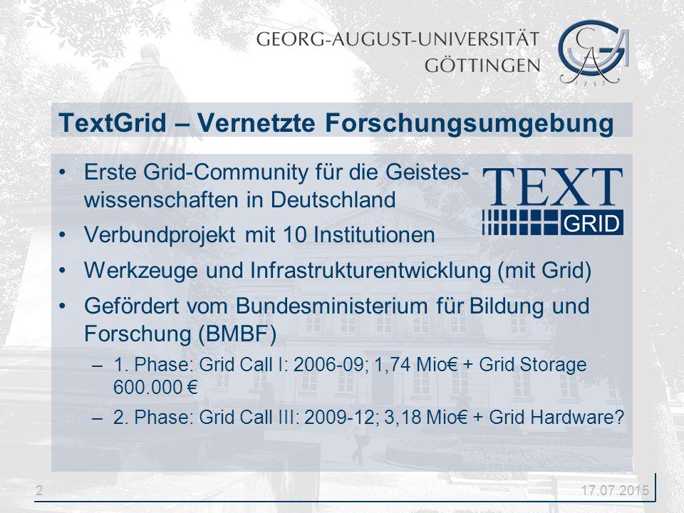 2 Erste Grid-Community für die Geistes- wissenschaften in Deutschland Verbundprojekt mit 10 Institutionen Werkzeuge und Infrastrukturentwicklung (mit Grid) Gefördert vom Bundesministerium für Bildung und Forschung (BMBF) –1.