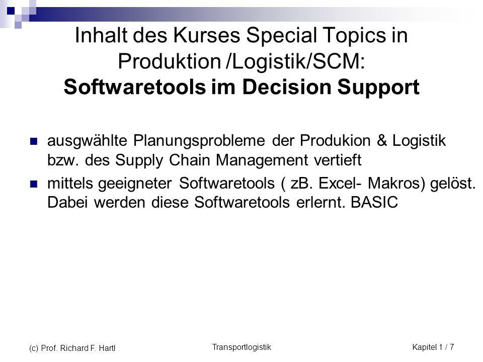 TransportlogistikKapitel 1 / 7 (c) Prof. Richard F. Hartl Inhalt des Kurses Special Topics in Produktion /Logistik/SCM: Softwaretools im Decision Supp