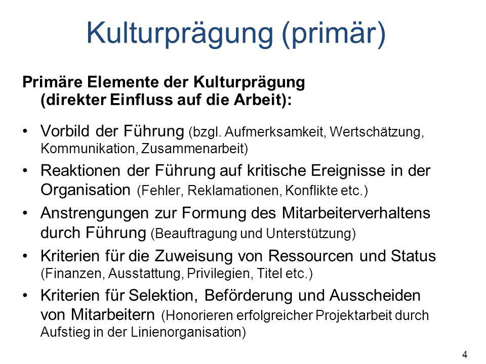 4 Kulturprägung (primär) Primäre Elemente der Kulturprägung (direkter Einfluss auf die Arbeit): Vorbild der Führung (bzgl. Aufmerksamkeit, Wertschätzu