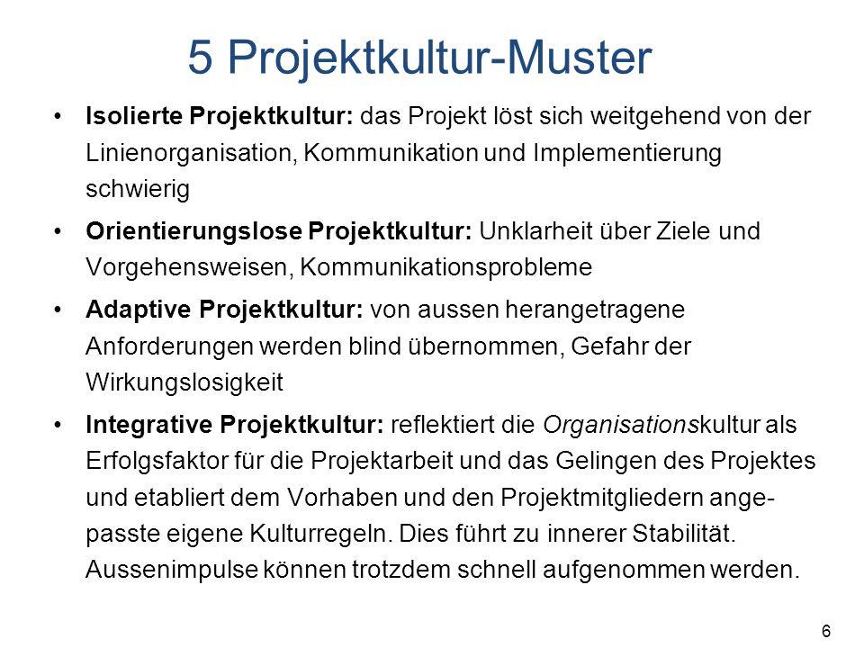 6 5 Projektkultur-Muster Isolierte Projektkultur: das Projekt löst sich weitgehend von der Linienorganisation, Kommunikation und Implementierung schwi