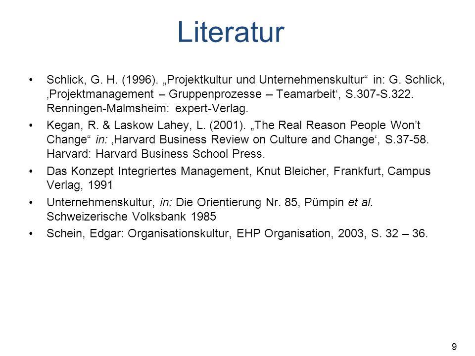 """9 Literatur Schlick, G. H. (1996). """"Projektkultur und Unternehmenskultur"""" in: G. Schlick, 'Projektmanagement – Gruppenprozesse – Teamarbeit', S.307-S."""