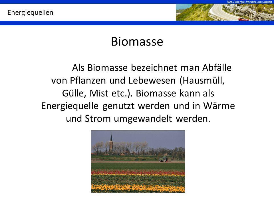 02b / Energie, Verkehr und Umwelt Energiequellen Biomasse Als Biomasse bezeichnet man Abfälle von Pflanzen und Lebewesen (Hausmüll, Gülle, Mist etc.).