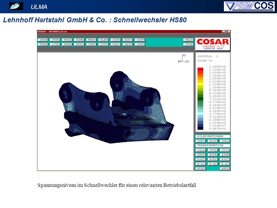 ULMA Lehnhoff Hartstahl GmbH & Co. : Schnellwechsler HS80 Spannungsniveau im Schnellwechler für einen relevanten Betriebslastfall