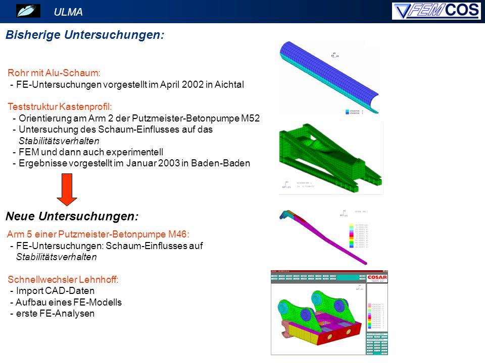 Rohr mit Alu-Schaum: - FE-Untersuchungen vorgestellt im April 2002 in Aichtal Teststruktur Kastenprofil: - Orientierung am Arm 2 der Putzmeister-Beton