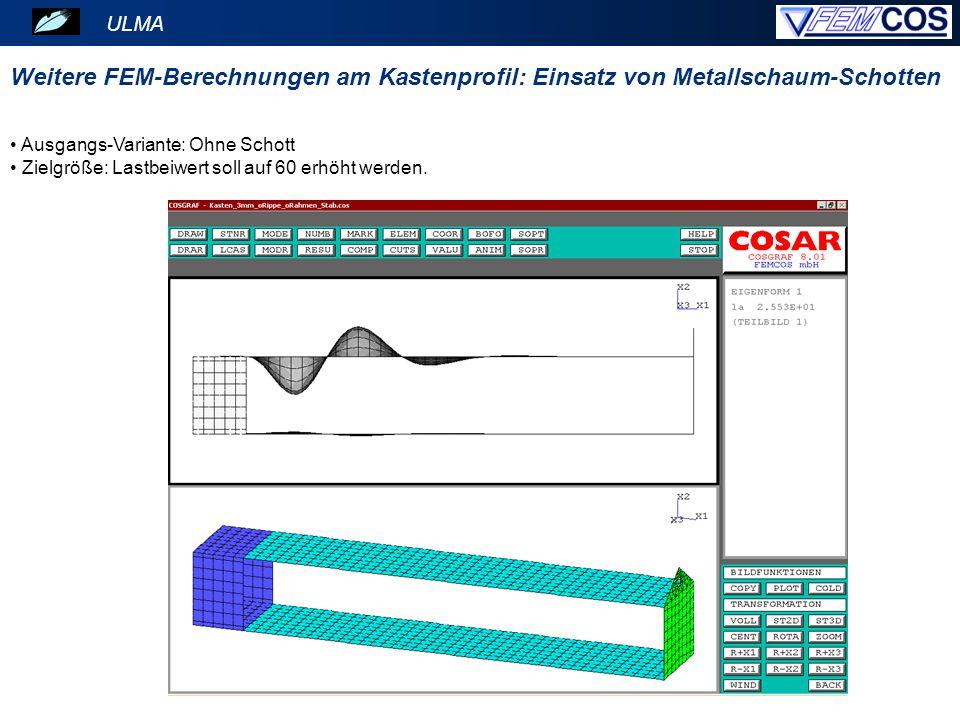 Ausgangs-Variante: Ohne Schott Zielgröße: Lastbeiwert soll auf 60 erhöht werden. ULMA Weitere FEM-Berechnungen am Kastenprofil: Einsatz von Metallscha