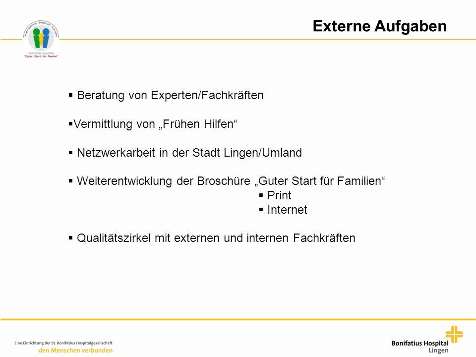 """Externe Aufgaben  Beratung von Experten/Fachkräften  Vermittlung von """"Frühen Hilfen""""  Netzwerkarbeit in der Stadt Lingen/Umland  Weiterentwicklung"""