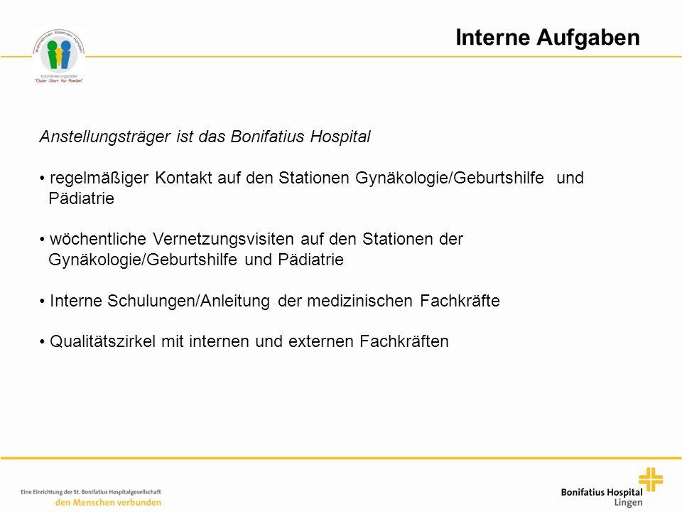 Interne Aufgaben Anstellungsträger ist das Bonifatius Hospital regelmäßiger Kontakt auf den Stationen Gynäkologie/Geburtshilfe und Pädiatrie wöchentli