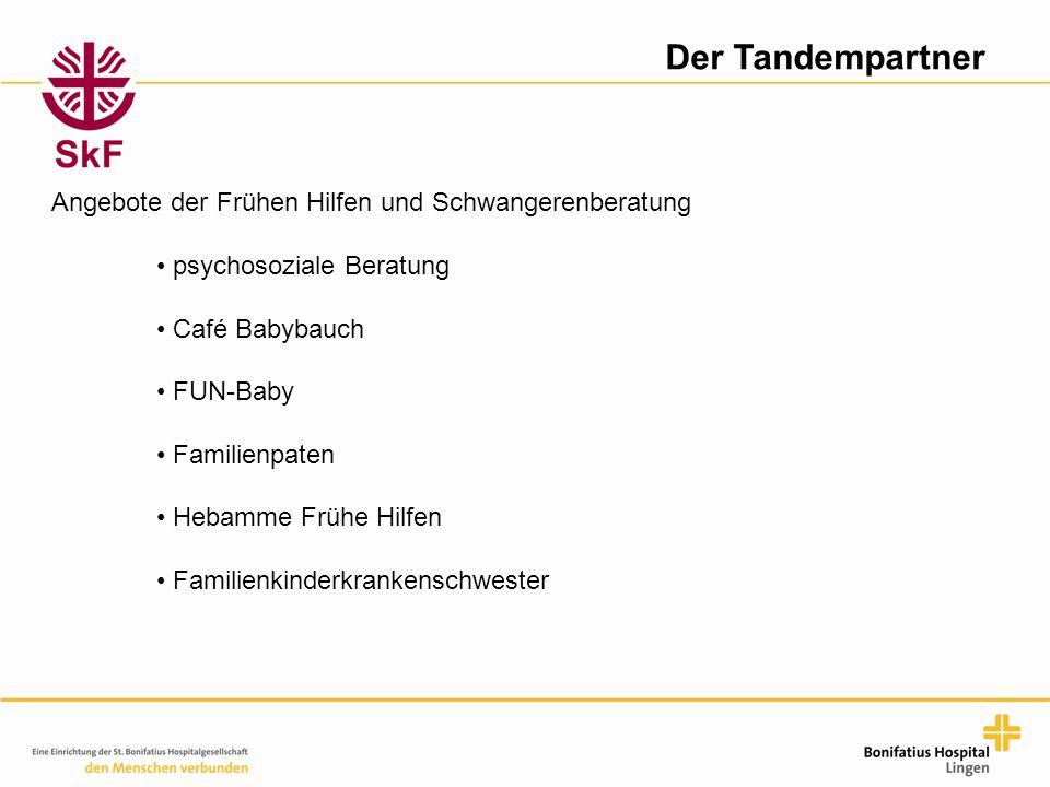 Der Tandempartner Angebote der Frühen Hilfen und Schwangerenberatung psychosoziale Beratung Café Babybauch FUN-Baby Familienpaten Hebamme Frühe Hilfen