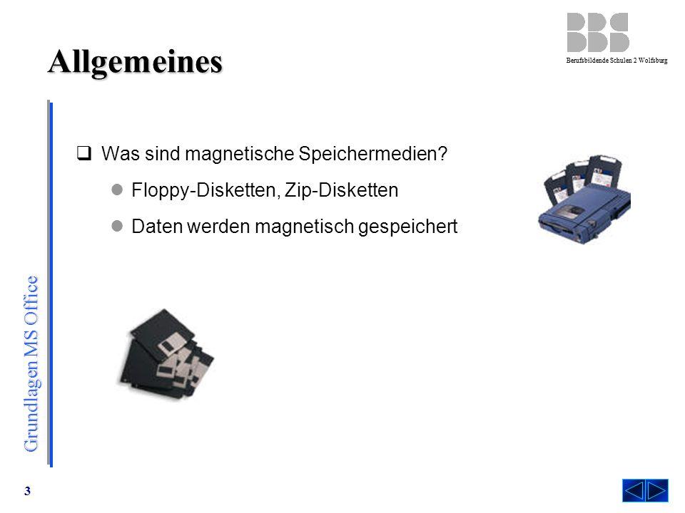 Grundlagen MS Office Berufsbildende Schulen 2 Wolfsburg 3 Allgemeines  Was sind magnetische Speichermedien.