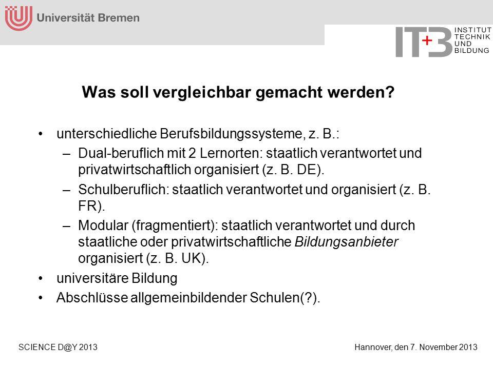 Hannover, den 7. November 2013SCIENCE D@Y 2013 Was soll vergleichbar gemacht werden.