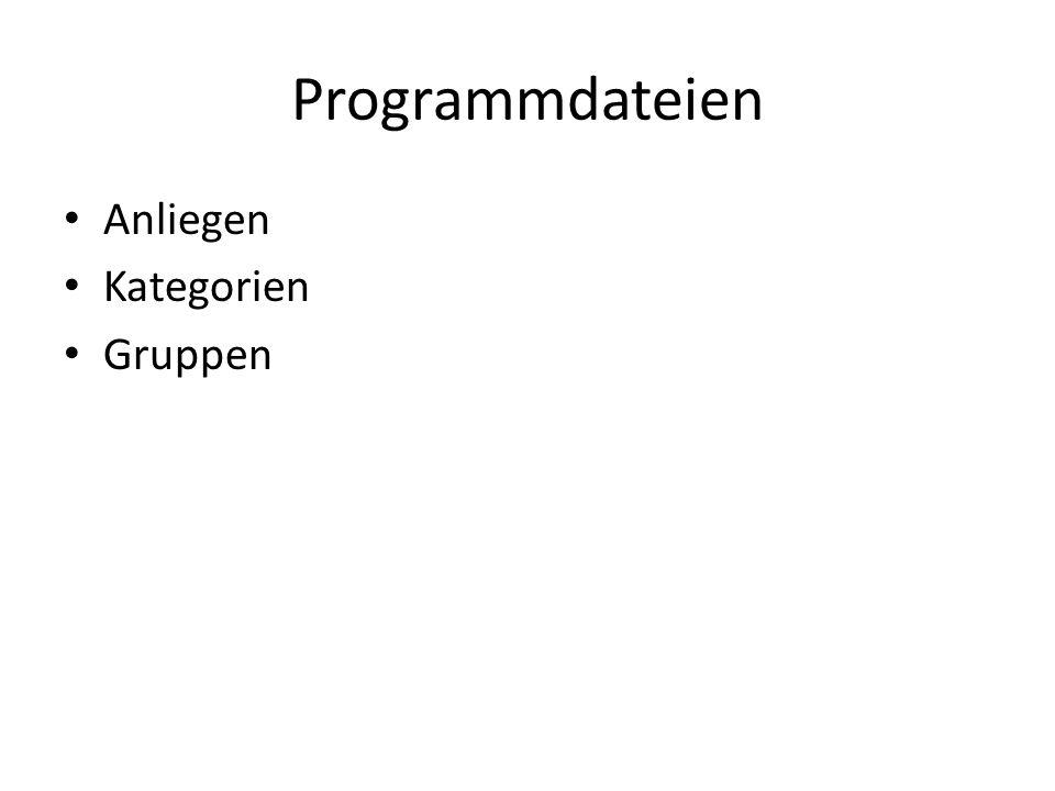 Programmdateien Anliegen Kategorien Gruppen