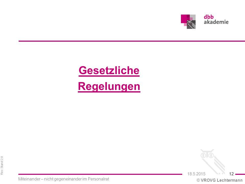 Rev. Stand 2.0 © VROVG Lechtermann Gesetzliche Regelungen 12 Miteinander – nicht gegeneinander im Personalrat 18.5.2015