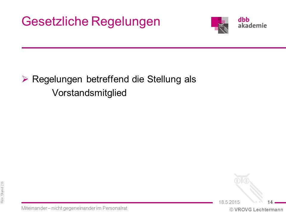 Rev. Stand 2.0 © VROVG Lechtermann Gesetzliche Regelungen  Regelungen betreffend die Stellung als Vorstandsmitglied 14 Miteinander – nicht gegeneinan