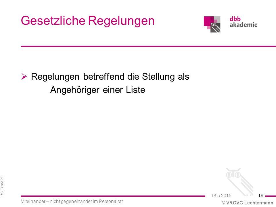 Rev. Stand 2.0 © VROVG Lechtermann Gesetzliche Regelungen  Regelungen betreffend die Stellung als Angehöriger einer Liste 16 Miteinander – nicht gege