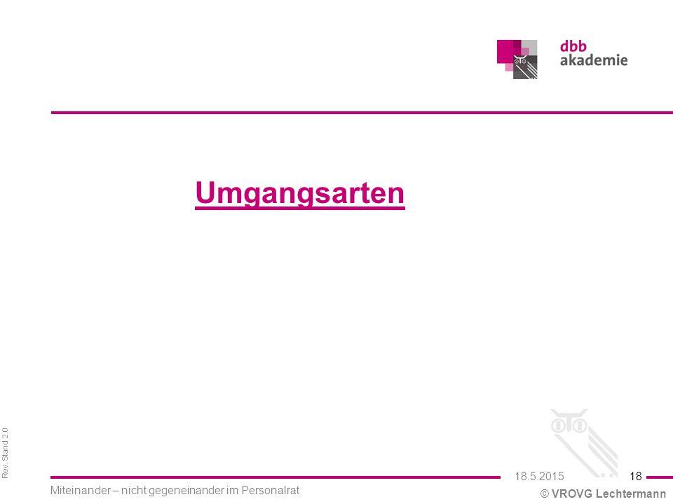 Rev. Stand 2.0 © VROVG Lechtermann Umgangsarten 18 Miteinander – nicht gegeneinander im Personalrat 18.5.2015