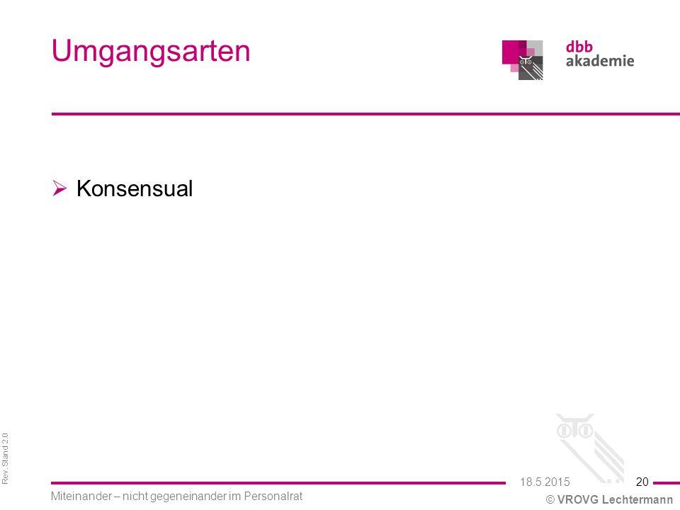Rev. Stand 2.0 © VROVG Lechtermann Umgangsarten  Konsensual 20 Miteinander – nicht gegeneinander im Personalrat 18.5.2015