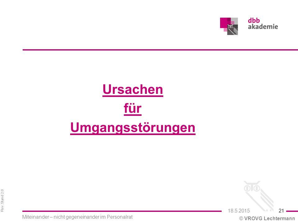Rev. Stand 2.0 © VROVG Lechtermann Ursachen für Umgangsstörungen 21 Miteinander – nicht gegeneinander im Personalrat 18.5.2015