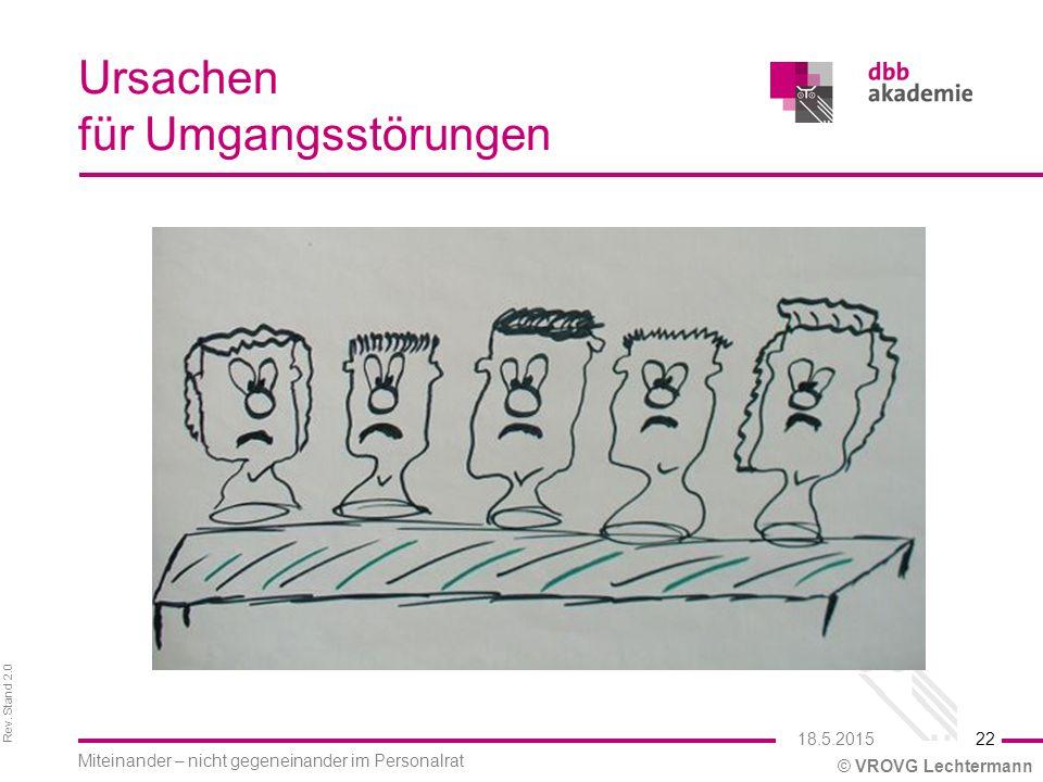 Rev. Stand 2.0 © VROVG Lechtermann Ursachen für Umgangsstörungen 22 Miteinander – nicht gegeneinander im Personalrat 18.5.2015