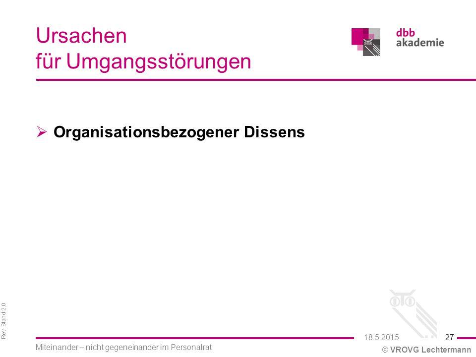 Rev. Stand 2.0 © VROVG Lechtermann Ursachen für Umgangsstörungen  Organisationsbezogener Dissens 27 Miteinander – nicht gegeneinander im Personalrat