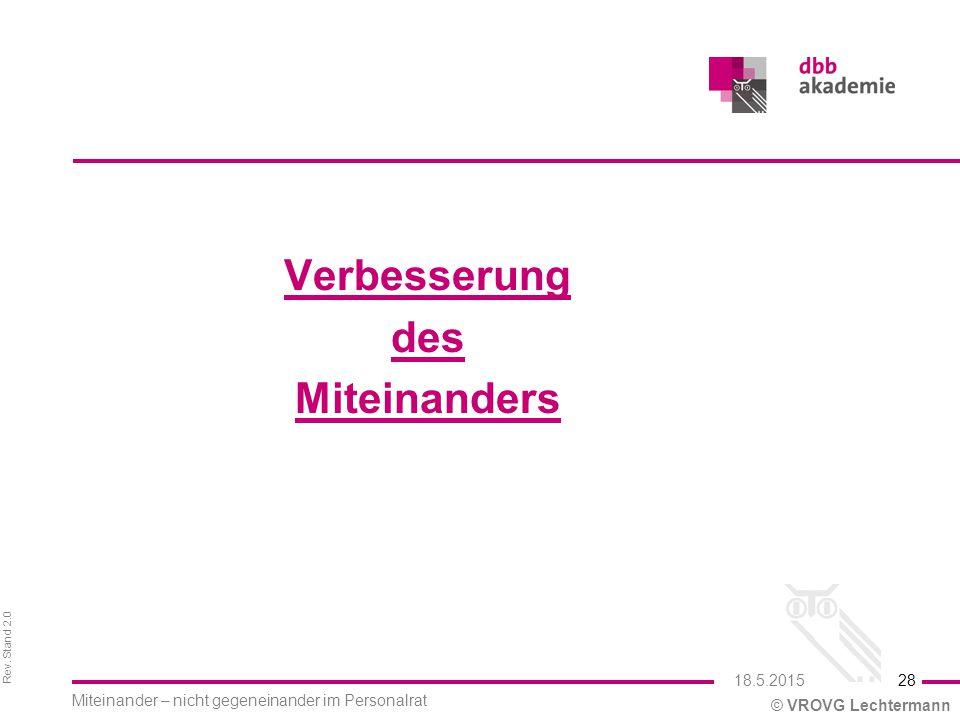 Rev. Stand 2.0 © VROVG Lechtermann Verbesserung des Miteinanders 28 Miteinander – nicht gegeneinander im Personalrat 18.5.2015