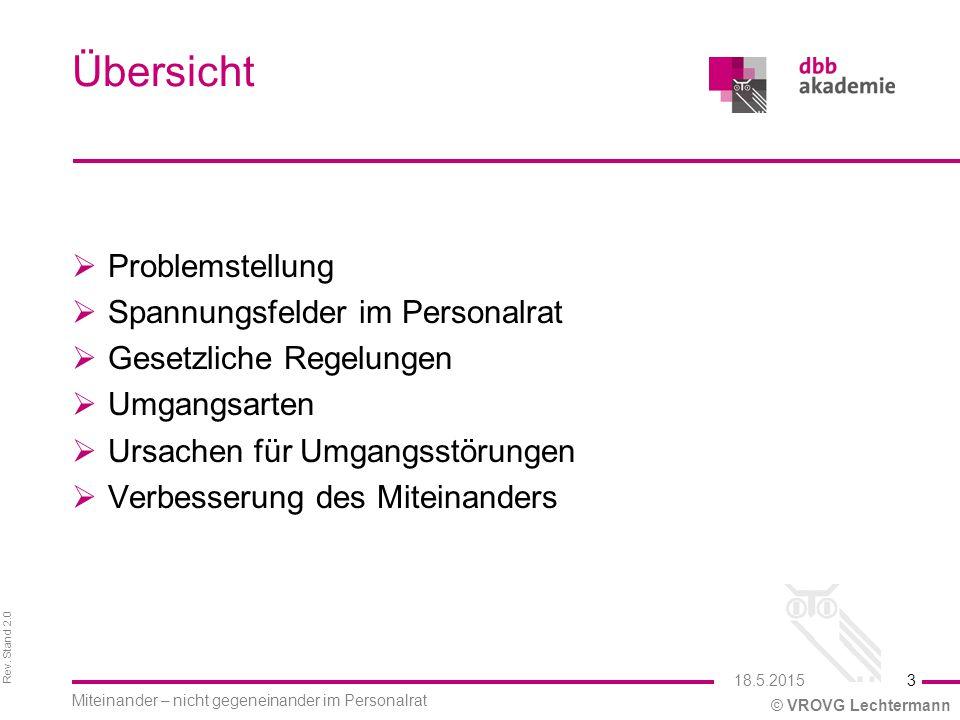 Rev. Stand 2.0 © VROVG Lechtermann Übersicht  Problemstellung  Spannungsfelder im Personalrat  Gesetzliche Regelungen  Umgangsarten  Ursachen für