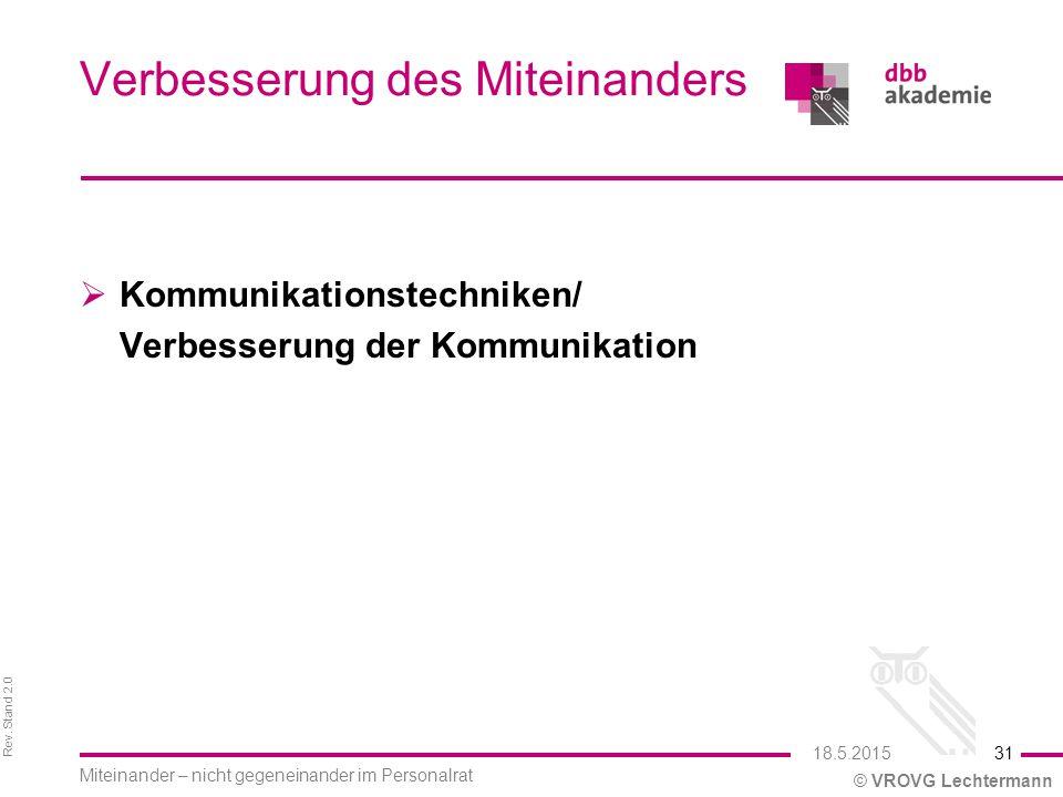 Rev. Stand 2.0 © VROVG Lechtermann Verbesserung des Miteinanders  Kommunikationstechniken/ Verbesserung der Kommunikation 31 Miteinander – nicht gege