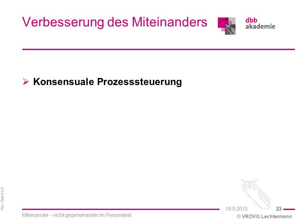 Rev. Stand 2.0 © VROVG Lechtermann Verbesserung des Miteinanders  Konsensuale Prozesssteuerung 33 Miteinander – nicht gegeneinander im Personalrat 18