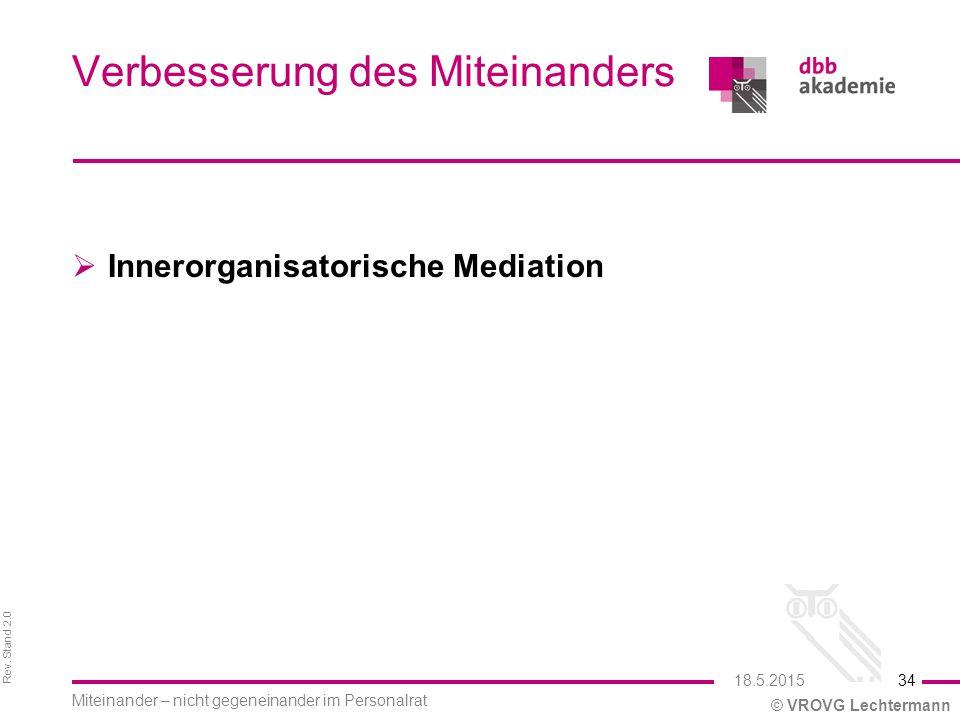 Rev. Stand 2.0 © VROVG Lechtermann Verbesserung des Miteinanders  Innerorganisatorische Mediation 34 Miteinander – nicht gegeneinander im Personalrat