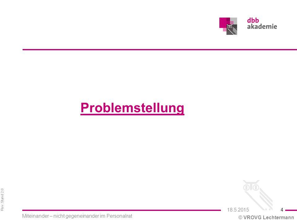 Rev. Stand 2.0 © VROVG Lechtermann Problemstellung 4 Miteinander – nicht gegeneinander im Personalrat 18.5.2015